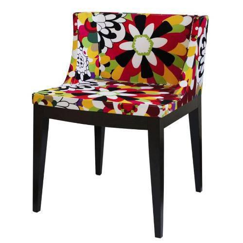 Cadeira Senhorita Tecido Floral com Base de Madeira Escura - Or Design