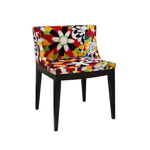 Cadeira Senhorita Tecido - Tecido-a-base-madeira-escura