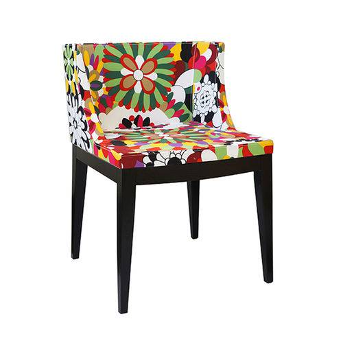 Cadeira Senhorita Tecido - Tecido-d-base-madeira-escura