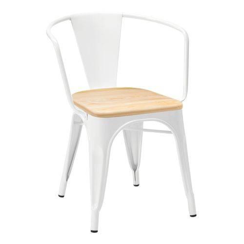 Cadeira Tolix com Braços e Assento Madeira - Branco