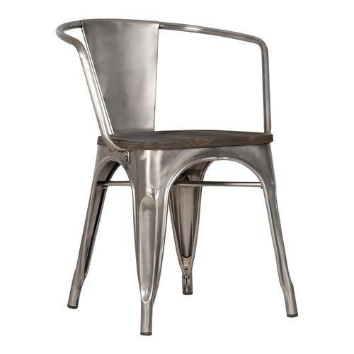 Cadeira Tolix com Braços e Assento Madeira - Galvanizada