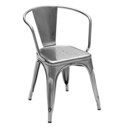 Cadeira Tolix Iron com Braços - Metalizada