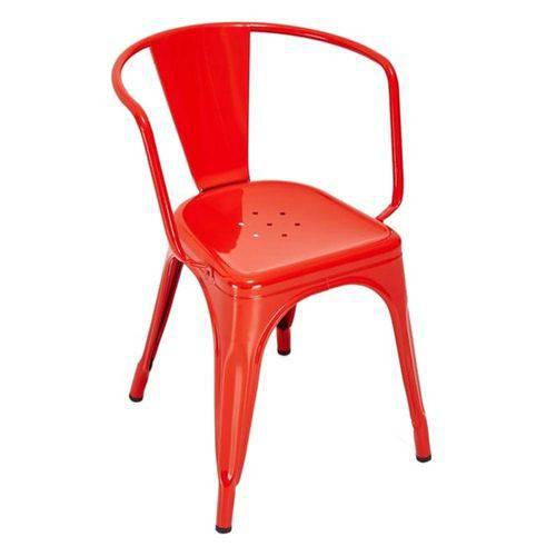 Cadeira Tolix Iron com Braços - Vermelho