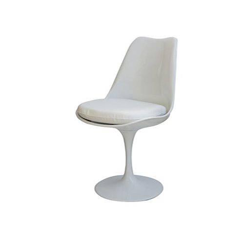 Cadeira Tulipa Estofada Branca Base Disco Branca