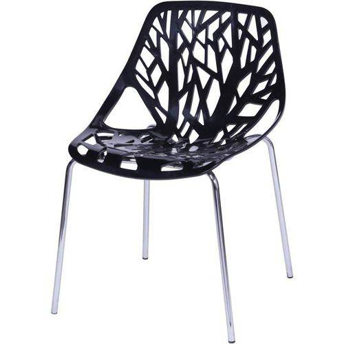 Cadeira Veneziana Preta ABS Base Cromada OR Design 1113