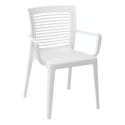 Cadeira Victória Encosto Vazado Horizontal com Braços Branca Tramontina 92042010