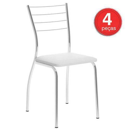 Cadeiras Carraro 1700 4 Unidades- Cor Cromada - Assento Couríno Branco