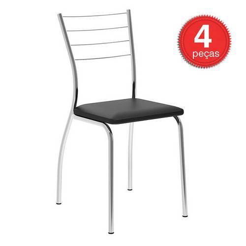 Cadeiras Carraro 1700 (4 Unidades) - Cor Cromada - Assento Couríno Preto