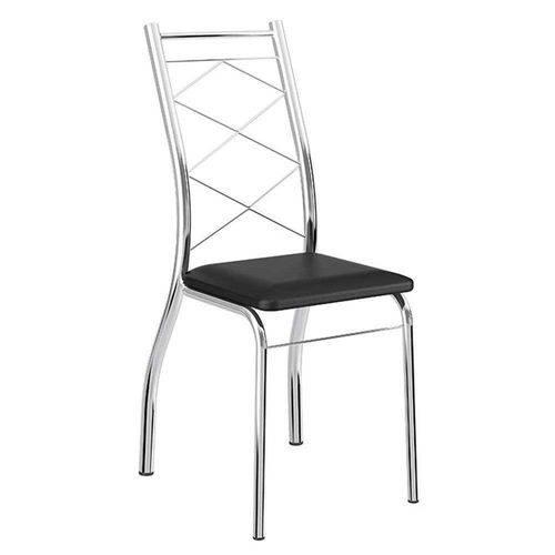 Cadeiras Carraro 1700 2 Unidades- Cor Cromada - Assento Couríno Preto