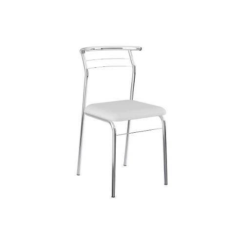 Cadeiras Carraro 1708 (2 Unidades) - Cor Cromada - Assento Couríno Branco
