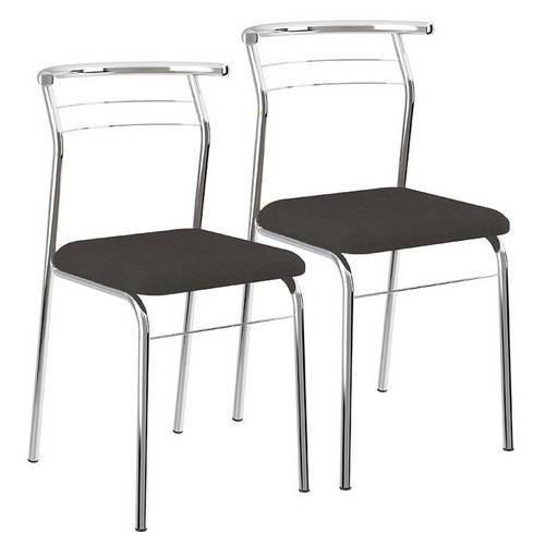 Cadeiras Carraro 1708 (2 Unidades) - Cor Cromada - Assento Couríno Preto