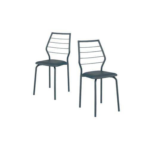 Cadeiras Carraro 1716 Color (2 Unidades) - Cor Azul Noturno - Assento Couríno Azul Noturno