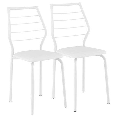 Cadeiras Carraro 1716 Color (2 Unidades) - Cor Branco - Assento Couríno Branco