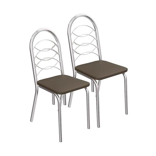 2 Cadeiras Cromadas Holanda 2C009 - Kappesberg - Marrom