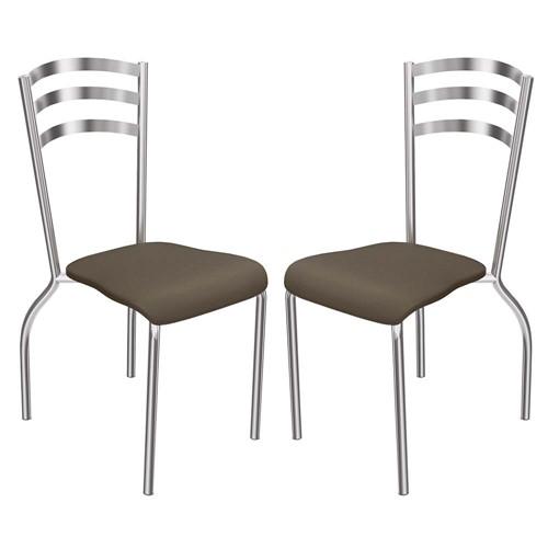2 Cadeiras Cromadas Portugal 2C007CR - Kappesberg - Marrom