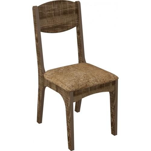 Cadeiras de Jantar Estofada Dalla Costa CA12 2 Unidades Rústico e Chenille Marrom