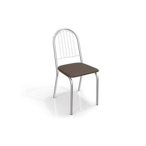 Cadeiras Kappesberg Noruega 2c077cr (2 Unidades) - Cor Cromada - Assento Linho Marrom 22
