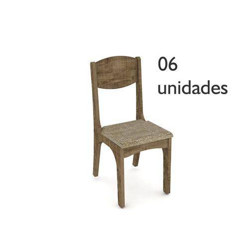 Cadeiras para Sala de Jantar Ca12 Rústico com Assento Chenille Marrom - Dalla Costa