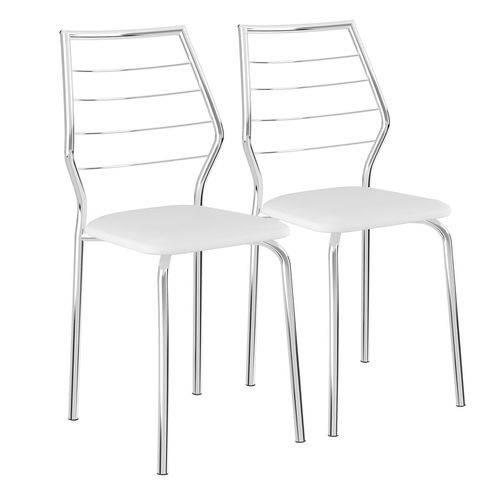 Cadeiras 2 Peças Napa Branco e Cromado 1716 Móveis Carraro