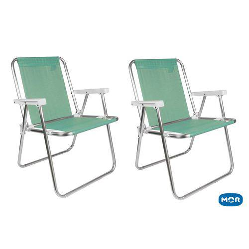 2 Cadeiras Sannet Alumínio Alta Verde Mor