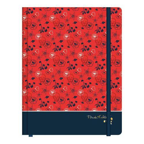 Caderneta Anotação 190x245mm 80 Folhas Frida Kahlo Vermelha e Preta Jandaia
