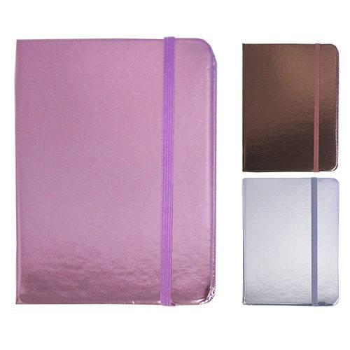 Caderneta Bloco de Notas com 80 Folhas Metalizada 14 5x10 5cm