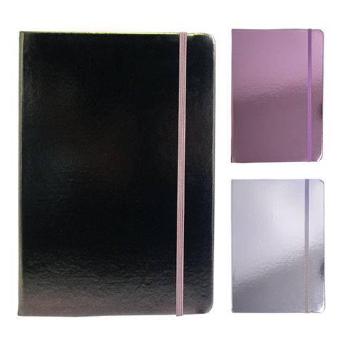 Caderneta Bloco de Notas com 80 Folhas Metalizada 21x15cm