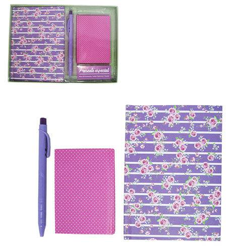 Caderneta Bloco de Notas Indice Telefonico com 50 Folhas Flores Caneta