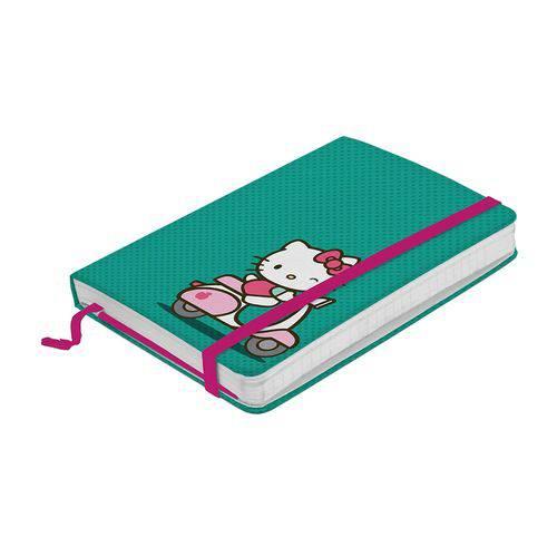Caderneta de Anotações Hello Kitty com 100 Folhas A6 e Elástico