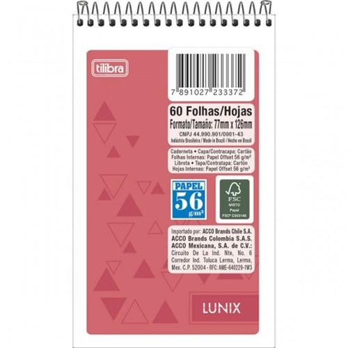 Caderneta Espiral Capa Flexível Lunix 60 Folhas - Sortido (Pacote com 20 Unidades)