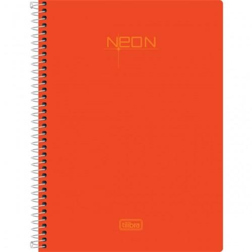 Caderneta Espiral Capa Plástica 1/8 Sem Pauta Neon Laranja 96 Folhas 147818