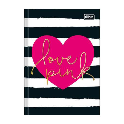 Caderno 1/4 Brochura Love Pink - Listras Pretas - 96 Folhas - Tilibra