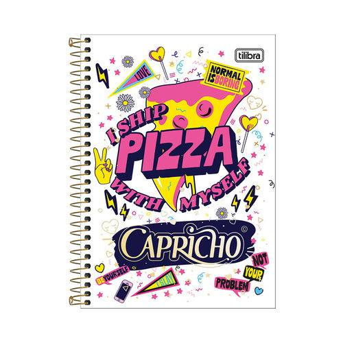 Caderno 1/4 Espiral Capricho - I Ship Pizza - 80 Folhas - Tilibra