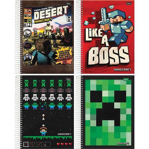 Caderno 1 Matéria C Dura Minecraft 96 Fls. Foroni Pct.C/ 4 Cadernos
