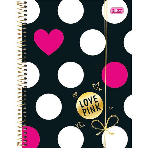 Caderno 1 Matéria Capa Dura 2017 Love Pink 96 Folhas Pct.C/04 Tilibra