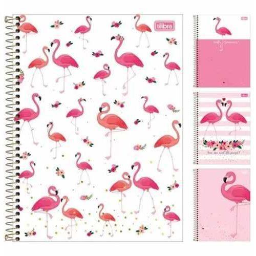 Caderno Aloha Flamingo Universitario (1x1) 80 Folhas