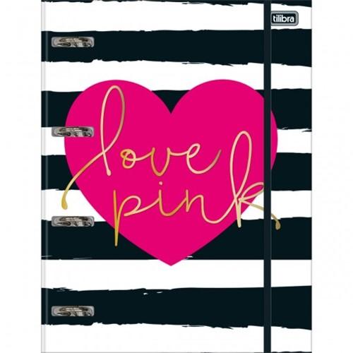 Caderno Argolado Cartonado Universitário com Elástico Love Pink 80 Folhas