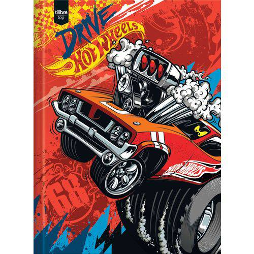 Caderno Brochura 1/4 Capa Dura Hot Wheels Top 96 Folhas Tilibra Pct.c/05