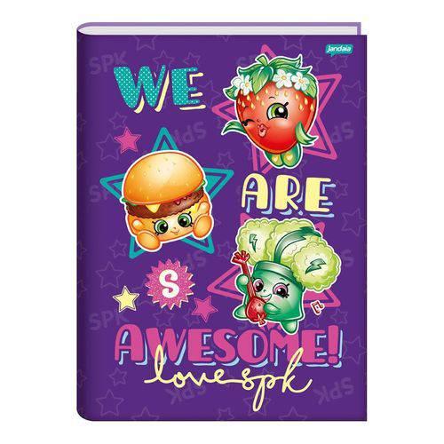 Caderno Brochura Capa Dura Universitário 96 Folhas Shopkins We Are Awesome Jandaia