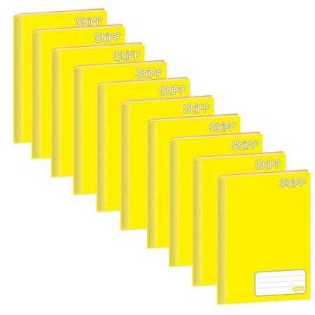 Caderno Brochura Universitário Capa Dura 48 Folhas Pct 10 Un Stiff Jandaia - Amarelo