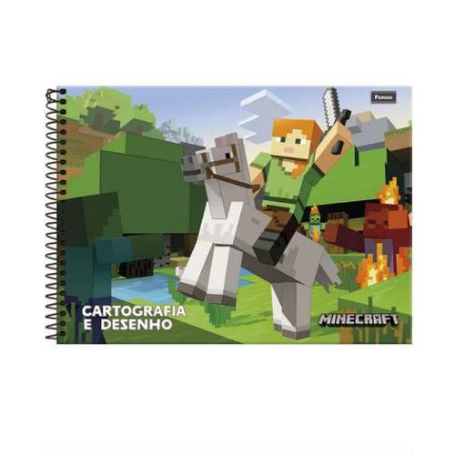 Caderno Cartografia C/D 96 Folhas Minecraft Foroni