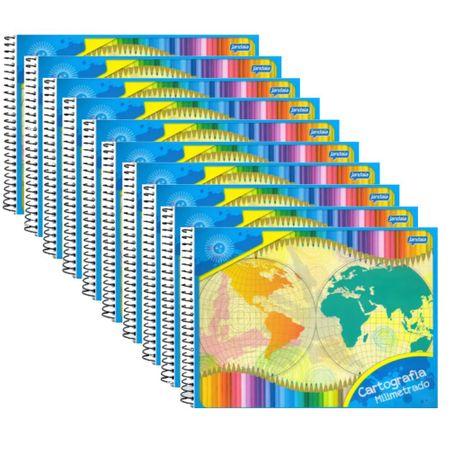 Caderno Cartografia Milimetrado Espiral 48 Folhas Capa Simples Pct 10 Un. Jandaia