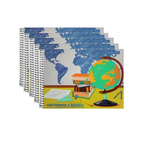 Caderno Cartografia Milimetrado Espiral 96 Folhas Pct 5 Unidades Capa Dura Foroni