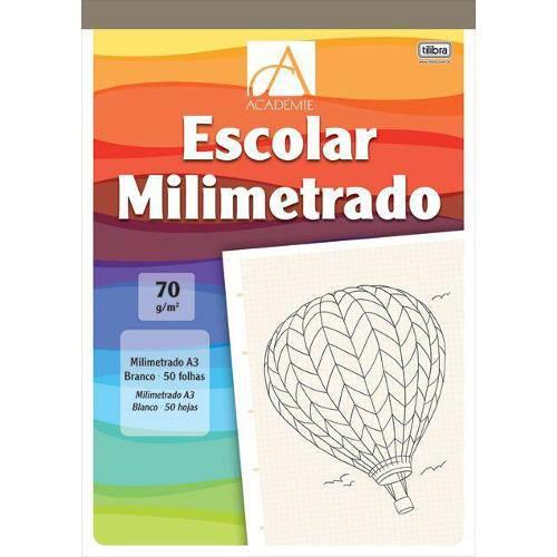 Caderno Colado ao Alto A4 Milimetrado 70g Académie 50 Folhas Tilibra
