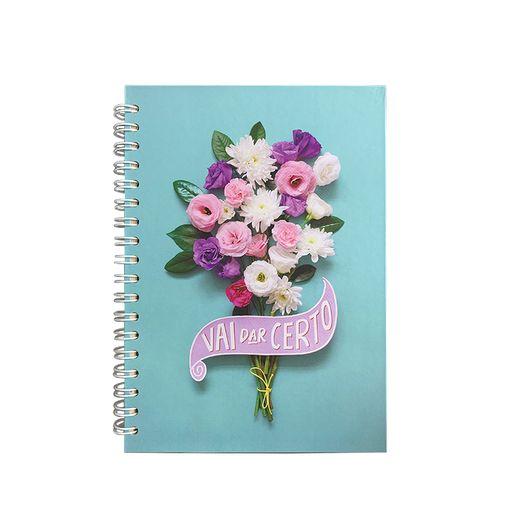 Caderno Colegial 1x1 96f CD Ui0001 Floral Turquesa Teca