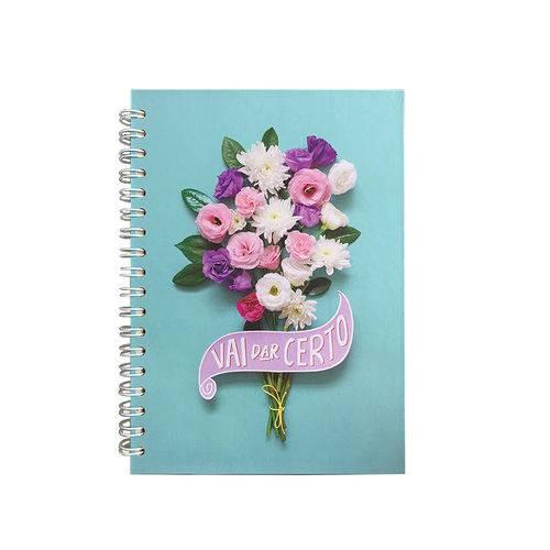 Caderno Colegial - Floral Turquesa - Teca