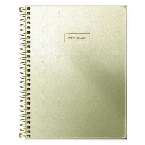 Caderno Colegial West Village Metalizado - Ouro - 80 Folhas - Tilibra