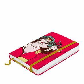 Caderno de Anotação com Elástico Mulher Maravilha Vermelho Dc Comics