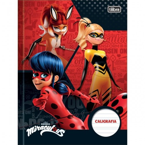 Caderno de Caligrafia Brochura Capa Dura Miraculous: Ladybug 40 Folhas - Sortido (Pacote com 5 Unidades)