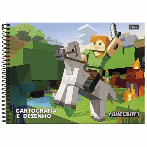 Caderno de Cartografia Minecraft 48 Folhas Foroni 1028016